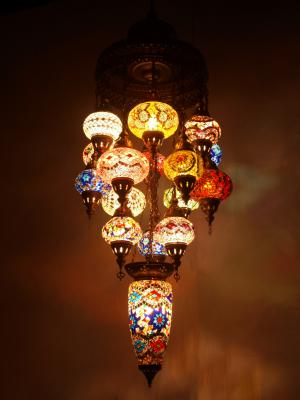 Mosaic Chandelier mixed length 16 piece mixed colours large in middle 2
